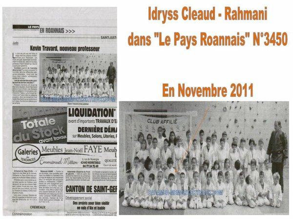 """PERSO DE LA SEMAINE : Idryss dans le journal """"Le Pays Roannais"""" en Novembre 2011"""