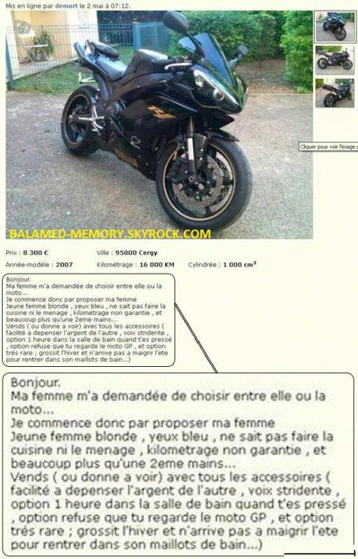HUMOUR DE LA SEMAINE : Vendre sa moto sur Leboncoin.fr