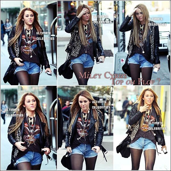 Le 12 Novembre : Miley sortait de son hôtel à Manhattan . Alors Top ou Flop , Perso c'est un TOP , Le look rock lui va super bien !