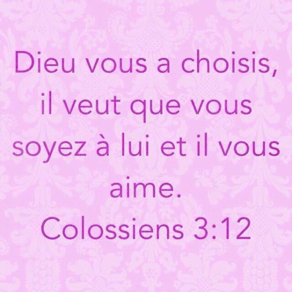 Dieu vous a choisis, il veut que vous soyez a lui et il vous aime