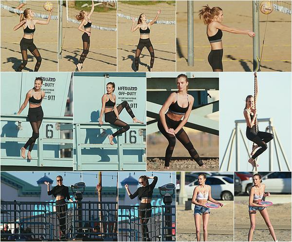 - 25.01.17 — Josephine Skriver a été repérée sur une plage de Santa Monica en plein shoot pour VS. Toujours prête pour le sport, Josephine posait pour la marque Victoria Sport sous un soleil de plomb dans la jolie ville côtière de LA.   -