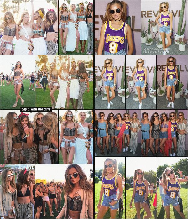 - -Coachella Festival- — Joseph' s'est rendu au Festival de musique Coachella dans l'Indio en Californie.  Miss a profiter de ses amis lors du premier jour du festival. Pour le deuxième jour, direction l'event organisé par la marque Revolve avec les girls. -