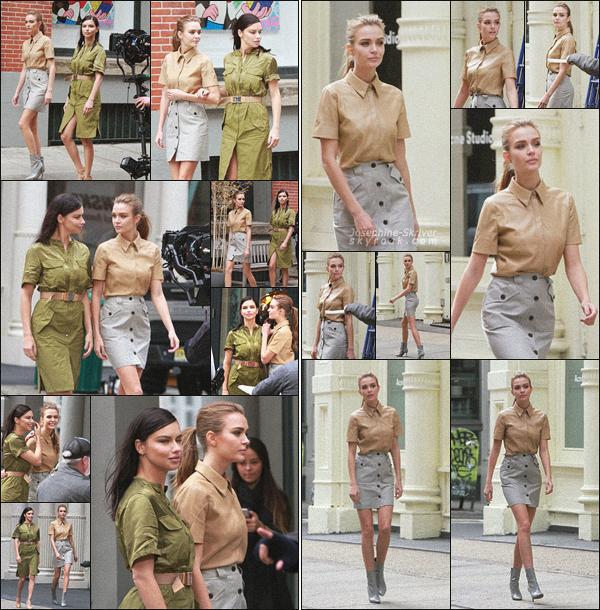 - 22/03/19.—. Josephine Skriver a été photographier durant le tournage d'une campagne pub pour Maybelline dans NY. La belle blonde bossait avec la queen Adriana Lima, également ambassadrice de la marque de cosmétique. J'aime bien la tenue, c'est un TOP !  -