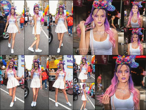 - 30/06/19.—. Josephine Skriver a assisté à la « New York City Pride », marche annuelle se déroulant dans New York. Toujours présente pour la cause LGBT, depuis son adolescence, notre belle blonde a défiler ce dimanche montrant son soutient à la cause. TOP !  -