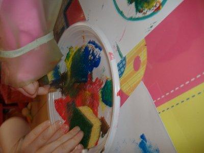 Aujourd'hui peinture à l'éponge!!