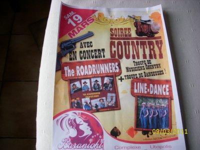 Samedi 19 mars 2011  a partir de 22 heures,  soirée country avec  l'orchestre the Roadrunners et démonstrations de danses avec les danseuses Halkansas au complexe Utopolis longwy-bas