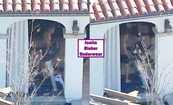 Justin fait du sport en boxer noir dans sa villa de Los Angeles !