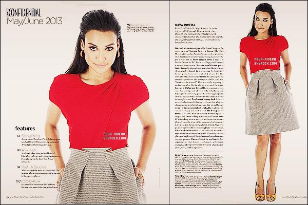 *  Naya fait l'usage d'un article dans  le magazine le LA Confidential Magazine pour le mois de Mai/Juin. *