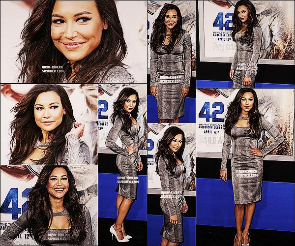 * 09/04/13 :  Naya était présente lors de l'avant premiere du tout nouveau film   nommé 42  situé   dans  Hollywood. *