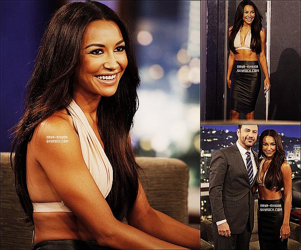 * 31/07/13 : Naya  s'est rendue pour une interview sur le plateau de    Jimmy Kimmel   situé  a  Los Angeles. *