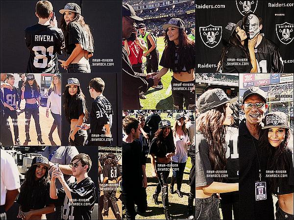 * 29/09/13 : Naya était présente au stade pour soutenir son frère au    Raiders Games     a  Oakland. *