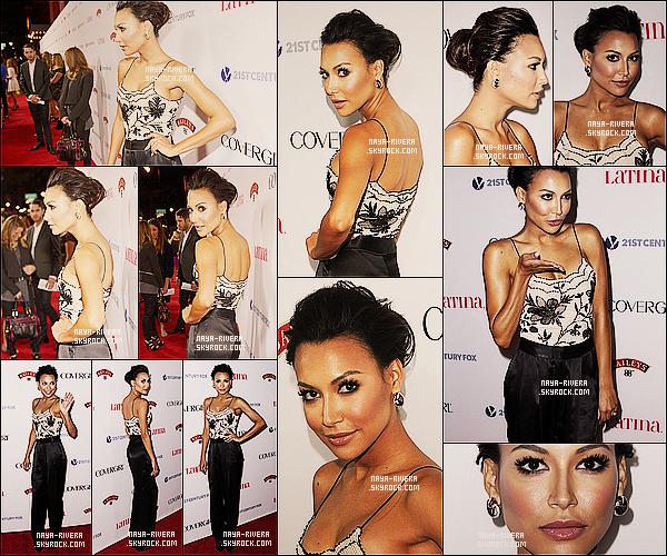 * 03/10/13 :   Naya était présente lors de la soirée du magazine     Latina   pour la Hollywood Hot List  a  Los Angeles. *
