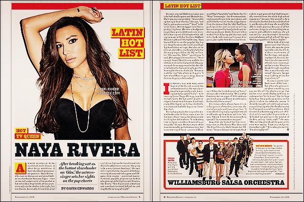 . Naya Rivera fait la couverture du mois de Novembre du magazine « Rolling Stone » .