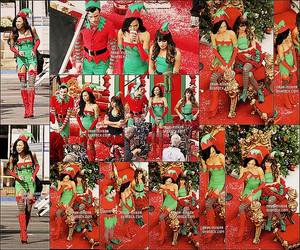 . 07/11/2013 : Naya et sa jolie tenue de lutin a été aperçu sur le tournage de l'épisode de Noël de Glee.  .