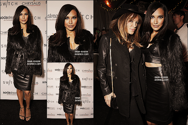* 14/12/13 : Naya  a été vu a la soirée de sa co-star de Glee, Lea Michele a la     Switch Boutique    a  Los Angeles. *