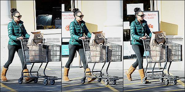 * 31/12/14 : Naya  a été aperçu seule  lorsqu'elle quittait le supermarché le Gelson qui est situé dans  Los Angeles.     Naya R.. a décidé de faire des courses avant la fin de l'année. On voit bien qu'au niveau de la tenue, elle n'a pas choisis sa tenue de fête ! *