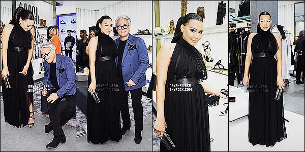 * 14/04/15 :. Naya  était présente lors de la grande ouverture du    Giuseppe Store qui est   situé dans Los Angeles.   Encore une tenue  noir pour Naya mais contrairement au autre je ne trouve pas que sa lui aille, sa la grossit encore plus c'est dommage  ! *