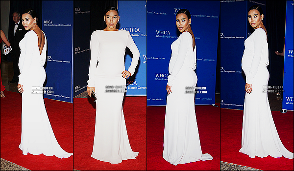 * 25/04/15 : Naya  était présente lors du      White House Correspondents Dinner situé dans  Washington D.C.      Naya a échangé le noir qu'elle nous met depuis sa grossesse par du blanc. Sa tenue est juste magnifique, un énorme TOP pour la tenue  ! *
