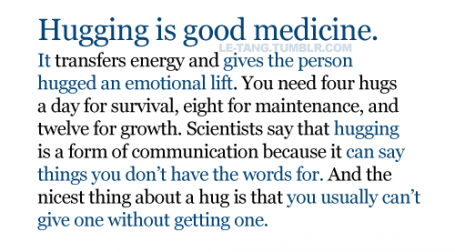 Hugging.