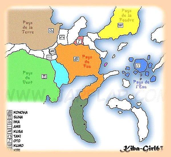 La carte du monde de Naruto