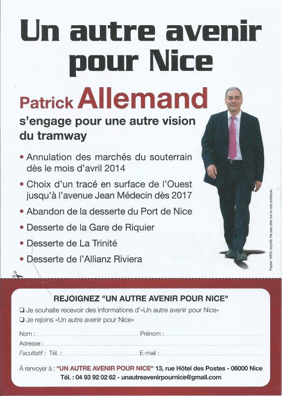 Tramway à Nice : NON AU SOUTERRAIN. PS : Frédéric Vidal sur la liste de Patrick Allemand pour l'élection municipale de mars.