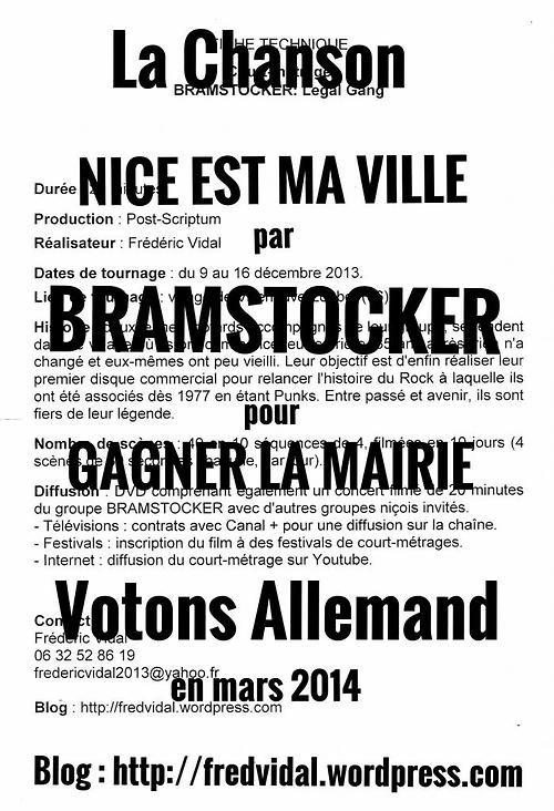 Conférence de Presse BRAMSTOCKER : Nice est ma Ville, le jeudi 23 Janvier 2014 à 16 Heures.