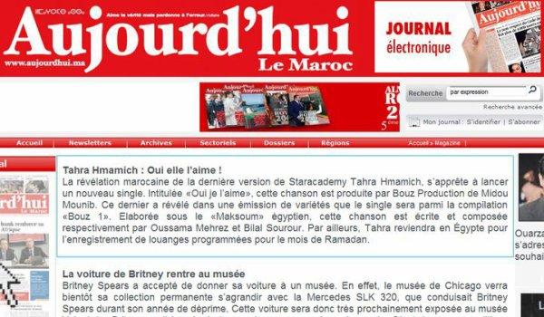 tahra sur le journal du maroc aujourd 39 hui salut. Black Bedroom Furniture Sets. Home Design Ideas