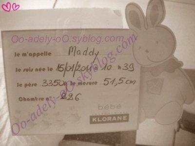 Bienvenue de ma fille , maddy née le 15 janvier 10h39 elle pèse 3350 G , mesure le 51,5 cm