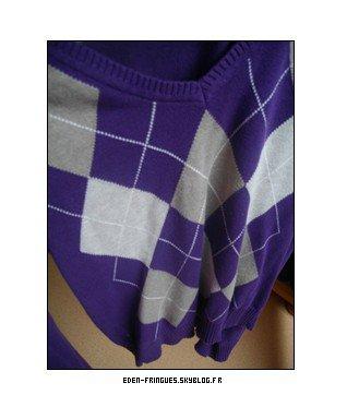 Pull violet gris carreaux