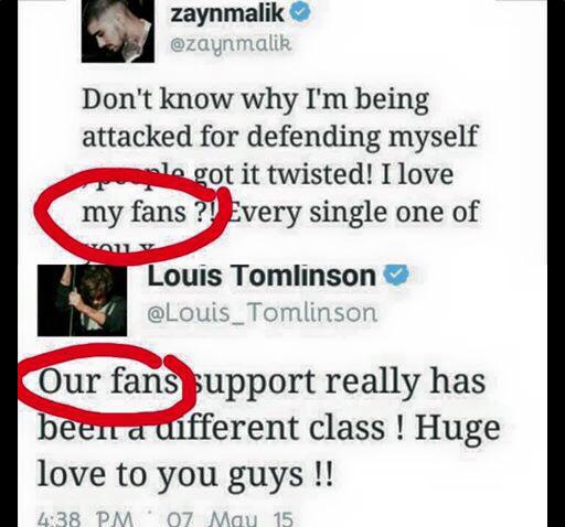 La Dispute entre Zayn et Louis (suite et nouveaux Tweets)