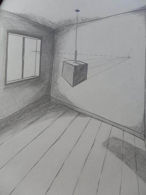Perspective Point De Fuite Meuble : Cube flottant perspective oblique à deux points de fuite