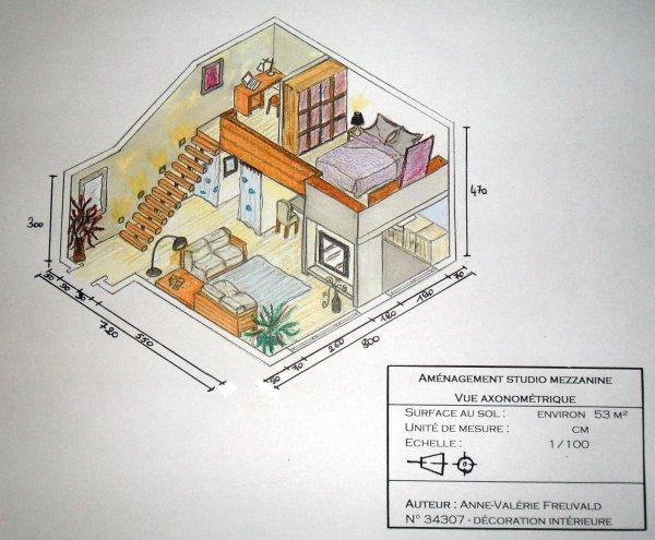 Studio 53 m² - Vue axonométrique