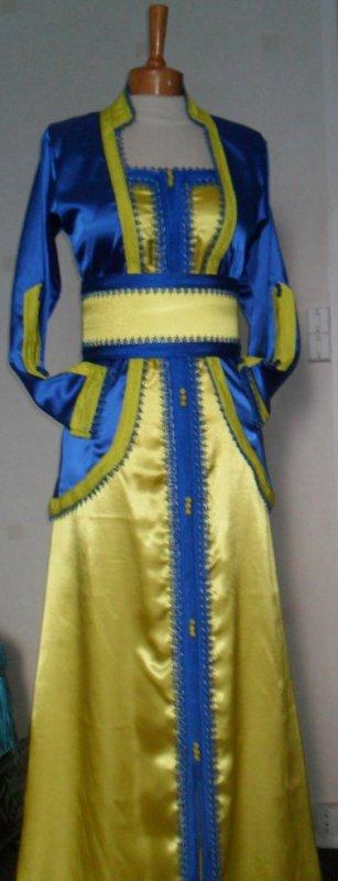 tres belle takchita jaune et bleu roi