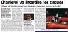 Charleroi Interdit les cirques avec animaux ..