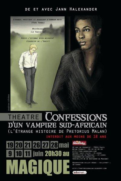 """Confessions d'un Vampire Sud-Africain"" du 19 mai au 11 juin-Paris-Interdit -18 ans"