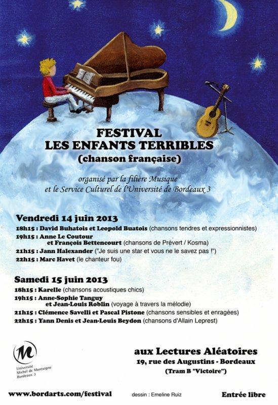 Jann Halexander chantera au festival Les Enfants Terribles à Bordeaux 14 juin