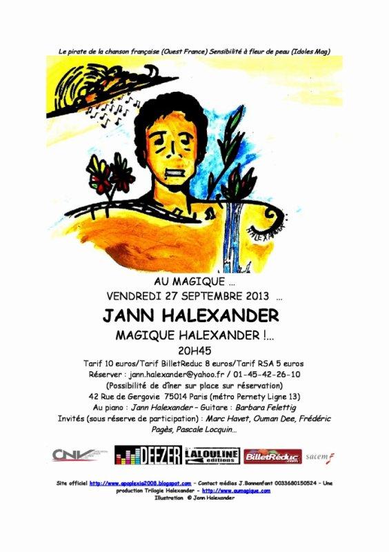 AFFICHE CONCERT JANN HALEXANDER AU MAGIQUE 27 SEPTEMBRE  2013- PARIS