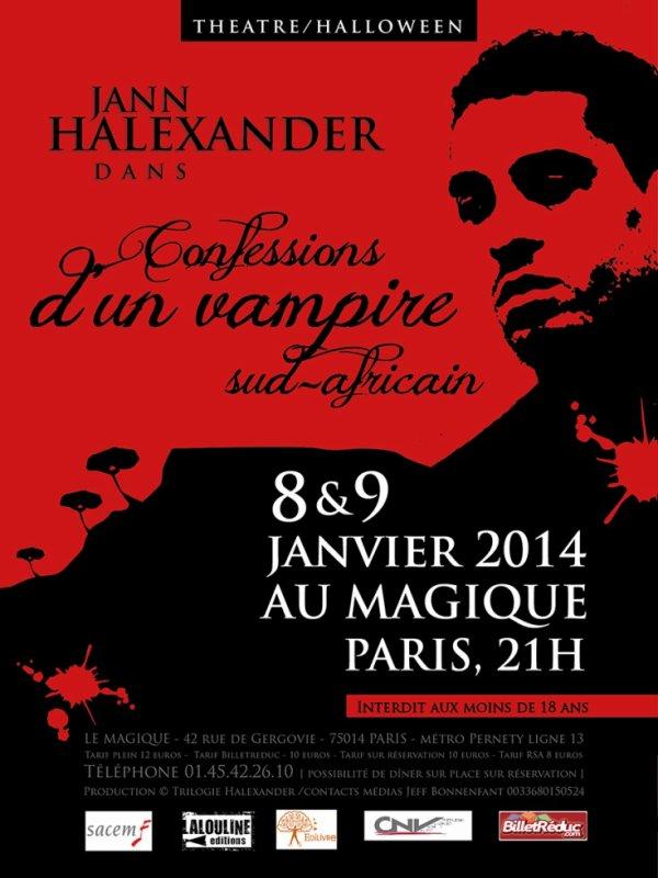Prolongations - Info Théâtre : monologue ''Confessions d'un Vampire Sud-Africain'', Paris 8 et 9 janvier 2014