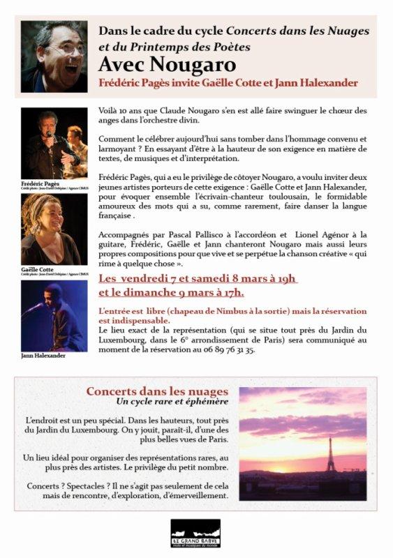 Hommage Nougaro 7/8/9 mars : Frédéric Pagès, Gaëlle Cotte, Jann Halexander