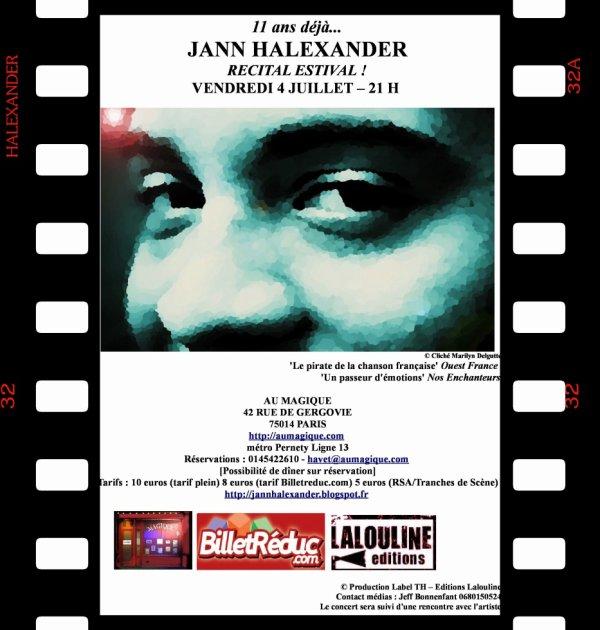 Jann Halexander en concert au Magique le 4 juillet - Paris