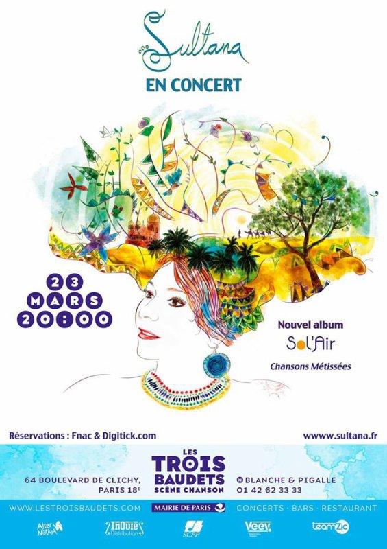 La chanteuse Sultana en concert aux Trois Baudets le 23 mars