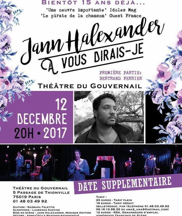 Nouvelle date au Théâtre du Gouvernail pour Jann Halexander le 12 décembre