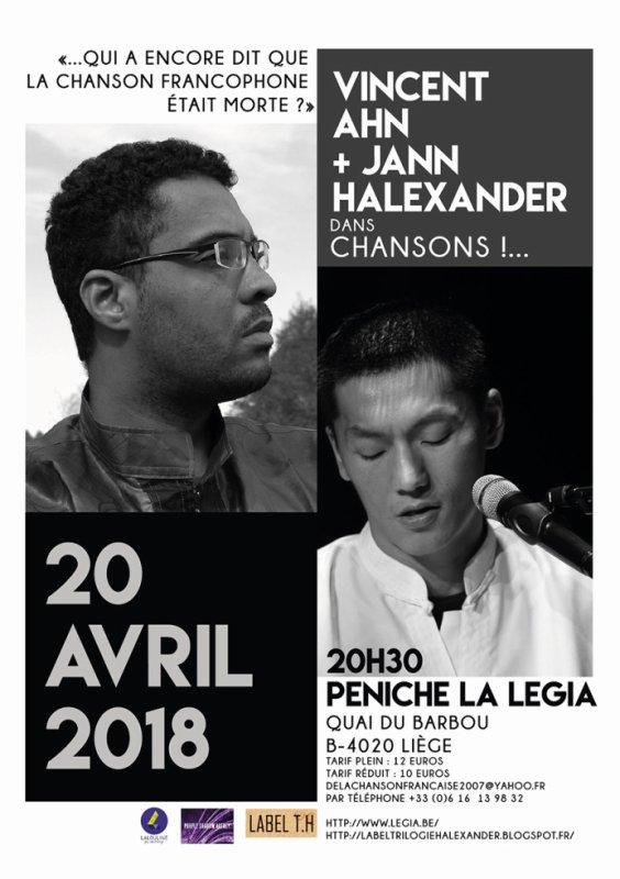 Jann Halexander + Vincent Ahn le 20 avril à la Légia à Liège