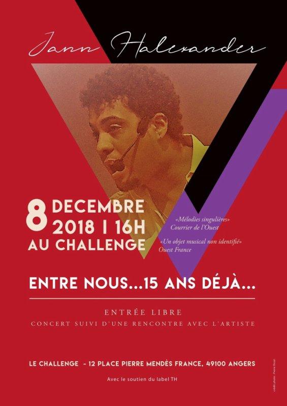 Jann Halexander fête la chanson au Challenge le 8 décembre, Angers
