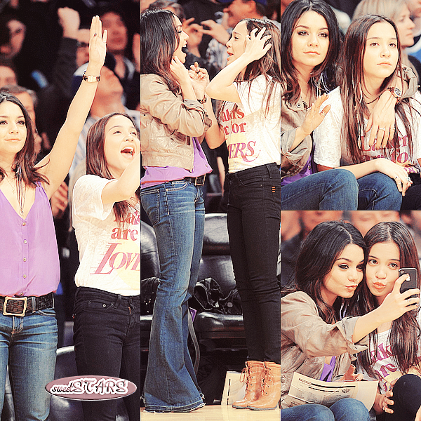 . Vanessa et Stella Hudgens  au match des Lakers à Los Angeles le 22 mars 2011  .