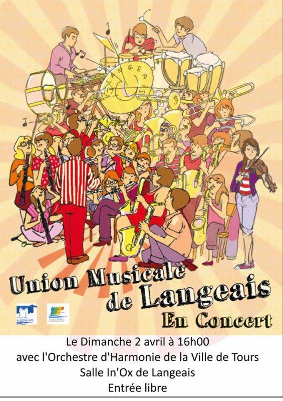 Dimanche prochain, 2 avril a 16 h c'est le concert de Printemps de l' Union Musicale de Langeais à l' Inox Inox