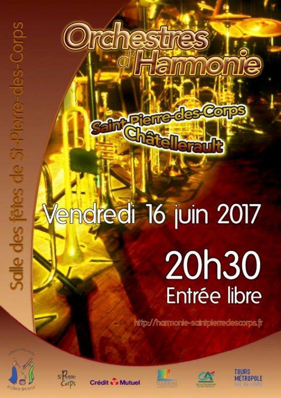 Vendredi 16 juin 2017 à 20h30 salle des Fêtes de Saint-Pierre-des-Corps, l'Harmonie reçoit Châtellerault pour un échange musical.