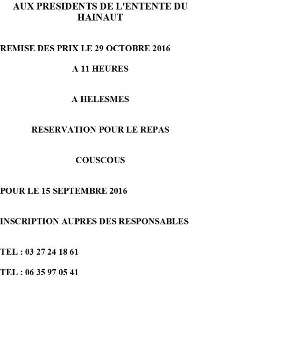 REMISE DES PRIX ET REPAS POUR L'ENTENTE DU HAINAUT DU 29 OCTOBRE 2016