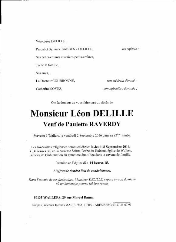 DECES DE NOTRE AMI COLOMBOPHILE MONSIEUR DELILLE LEON DE WALLERS
