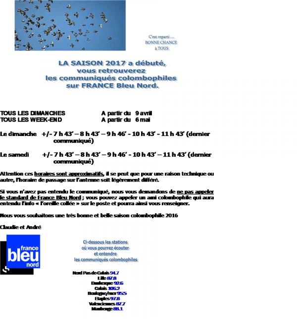 COMMUNIQUES COLOMBOPHILES SUR FRANCE BLEU NORD POUR LA SAISON 2017